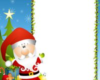Santa Claus Border. An illustration featuring a Santa Claus with holly border and presents Royalty Free Stock Images
