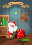 Santa Claus borracha está durmiendo en el cuarto Imagen de archivo libre de regalías