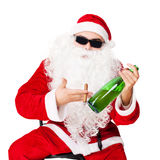 Santa Claus with bottle of champagne Royalty Free Stock Photos