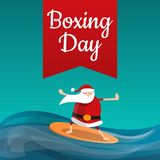 Santa claus boxing day concept background, cartoon style vector illustration