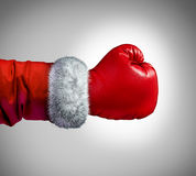 Santa Claus Boxing Glove Stockfoto