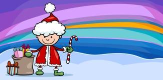 Santa claus boy cartoon greeting card Stock Photo