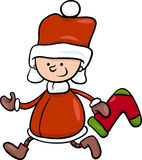Santa claus boy cartoon illustration Royalty Free Stock Photo