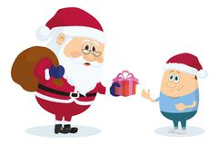 Santa Claus and boy Stock Photo