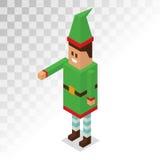 Santa Claus boy helper cartoon elf vector 3d. Isometric pixel art illustration. Santa Claus elf helper kid . Santa helpers traditional costume. Santa family Royalty Free Stock Photography