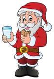 Santa Claus breakfast theme 1 Royalty Free Stock Image