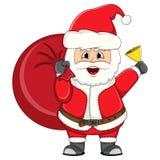 Santa claus bring a gift bag christmas cartoon Stock Images