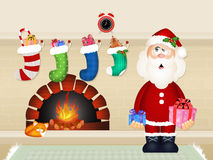 Santa Claus brings gifts Stock Photos