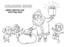Santa Claus brings gifts to children Royalty Free Stock Image