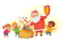 Santa Claus brings gifts to children Royalty Free Stock Photography
