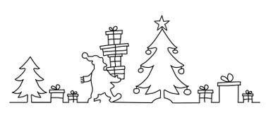 Santa Claus brings many presents stock illustration