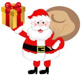 Santa Claus Brings Presents. Illustration of fat cute Santa Claus with a sack and a present on a hand isolated on white background. You can find other Stock Photos