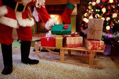 Santa Claus brings presents Royalty Free Stock Photos