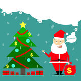 Santa Claus brought a bag of money. Business card cartoon comic royalty free illustration