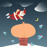 Santa Claus brought gifts that are stuck in the. Santa Claus jumps on gifts that are stuck in the chimney Vector Illustration