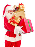 Santa Claus Brought a Lot of Christmas Presents Stock Photo