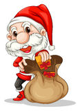 Santa Claus with a brown sack Royalty Free Stock Photography