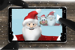 Santa Claus Browsing Selfie Photos Royalty Free Stock Photo