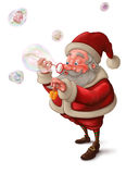 Santa Claus and the bubbles soap - White background. Santa Claus put the gift box in to the soap bubbles Royalty Free Stock Photos