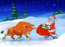 Santa Claus with a bull Royalty Free Stock Photos