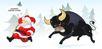 Santa claus and bull Royalty Free Stock Photos