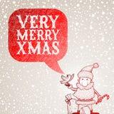 Santa Claus and bullfinch congratulates you with C Stock Photos