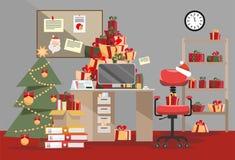 Santa Claus-bureau met berg van giften De stapels van huidige vakjes met linten en de Stapel documenten liggen op lijst, vloer, p vector illustratie