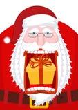 Santa Claus burping gift. Open mouth Box burp. Crazy Christmas g Royalty Free Stock Photos