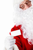 Santa Claus with a business card. On a white background Royalty Free Stock Photo