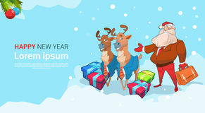 Santa Claus Business Man With Reindeer Present Box Christmas Holiday Happy New Year Stock Photos