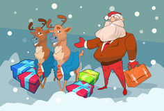 Santa Claus Business Man With Reindeer Present Box Christmas Holiday Happy New Year Royalty Free Stock Photos