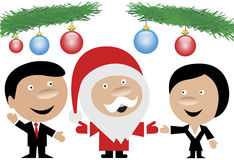 Santa Claus and business people. Santa Claus in the company of a business man and a business woman isolated on white background and with blue and red glass balls Stock Images