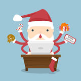 Santa Claus busy. Santa Claus is busy with preparations to distribute gifts to children at Christmas. Santa Claus working on laptop computer vector illustration