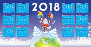 Santa Claus with Calendar 2018. Smiling Santa Claus standing on a top of world globe, New Calendar 2018 in the background Stock Photos