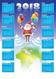 Santa Claus with Calendar 2018 Royalty Free Stock Photos