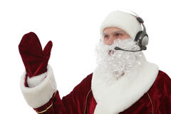 Santa Claus Call Center. Santa Claus with headphones isolated on white stock images