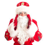 Santa Claus is calling someone. Stock Photos