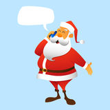 Santa Claus calls. Santa Claus calling by mobile phone Royalty Free Stock Images