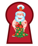 Santa Claus came to visit with a beautiful Christmas tree. Vector Royalty Free Stock Photography