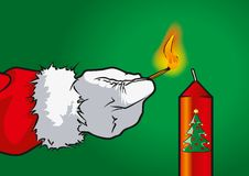Santa Claus candle. Santa Claus inflamed a christmas candle Royalty Free Stock Photography