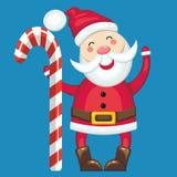 Santa Claus and candy cane Stock Photos