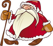 Santa claus with cane. Illustration of santa claus walking with cane Stock Photo