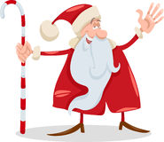 Santa claus with cane cartoon Stock Photo