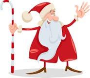 Santa claus with cane cartoon Stock Photo