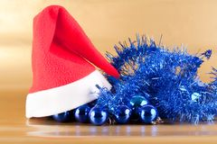 Santa Claus cap. On Christmas decorations Stock Photo