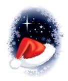 Santa Claus cap. On a winter background Stock Photos