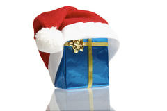 Santa claus cap on gift Royalty Free Stock Photography