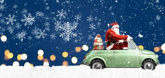 Santa Claus on car Royalty Free Stock Photo