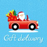 Santa Claus in the car. Santa Claus in the car with gifts Stock Photo