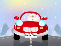 Santa Claus on car. Illustration of Santa Claus on car vector illustration